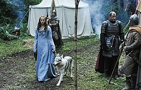 Sansa and her direwolf, Lady, play an important part in the episode